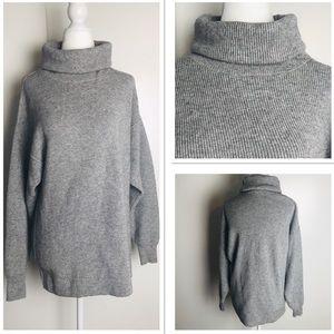 Free People Oversized Grey Knit Turtleneck Sweater